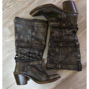 Frye Carmen 3 Strap Buckle Distressed Black Boots